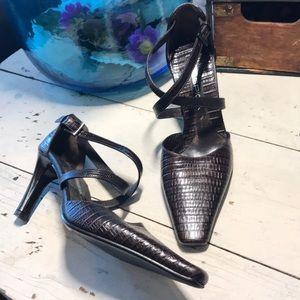 Via Spiga croc heeled sandal pump size 5.5 worn 1x